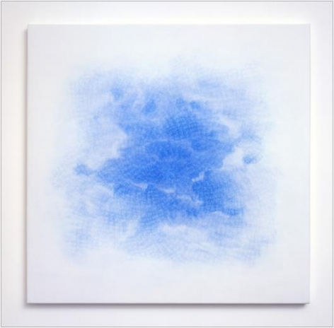 Fleck, 2005 blue pencil on white aquacryl on canvas