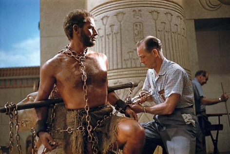 YUL BRYNNER Charlton Heston on the Set of The Ten Commandments, 1956
