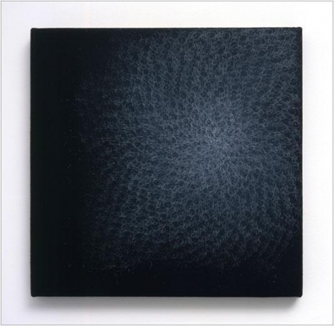 Ash, 2005 white pencil on black aquacryl on canvas