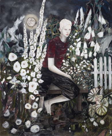 HERNAN BAS, Albino in a moonlight garden, 2014