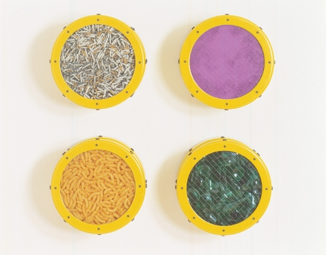 ASHLEY BICKERTON, Small Yellow Catalog: Cigarettes, Purple Pigment, Cheese Doodles, Broken Glass, 1991