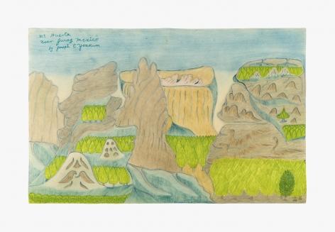 "Drawing by Joseph Yoakum titled ""Mt. Huerta near Juraz Mexico"" from 1970"