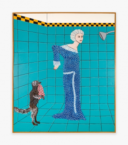 Painting by Joan Brown titled Woman Preparing for a Shower from 1975