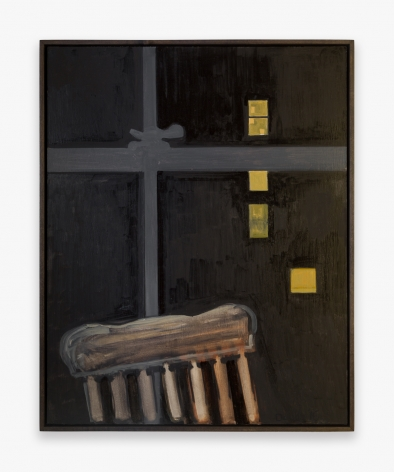 Painting by Lois Dodd, titled Chair, Night Window, from 2016