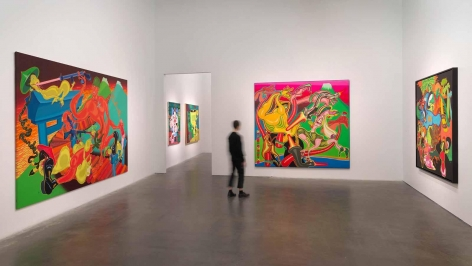 Installation image the exhibition titled Peter Saul Crime and Punishment at the New Museum in 2020