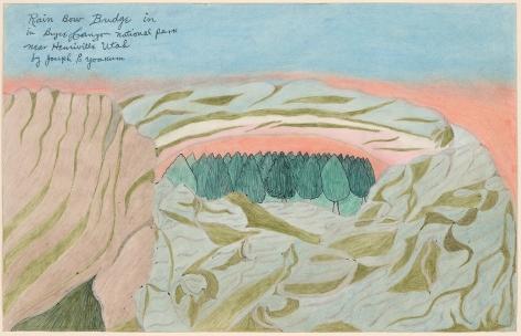 Drawing by Joseph Elmer Yoakum titled Rain Bow Bridge in in Bryce Canyon National Park near Henriville Utah, from 1968
