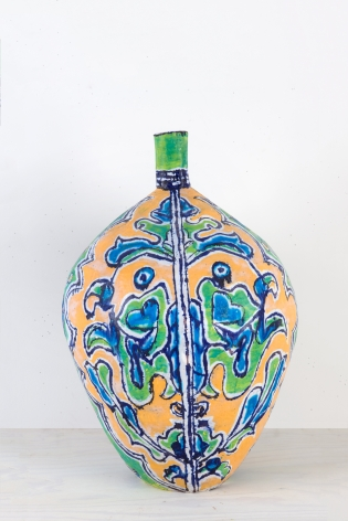 Elisabeth Kley Large Gold & Lime Leaf Face Bottle, 2009