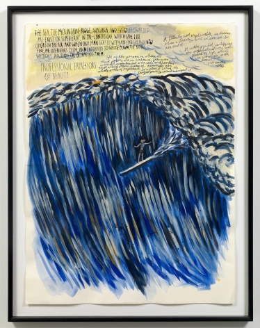 """""""Untitled (Surfer),"""" 2005 by Raymond Pettibon. Photo by Adam Reich / Courtesy of the artist and Venus Over Manhattan."""