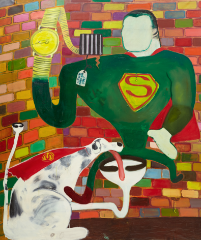 PETER SAUL, SUPERMAN AND SUPERDOG IN JAIL, 1963, ACRYLIC ON CANVAS, 75″ X 63″.,