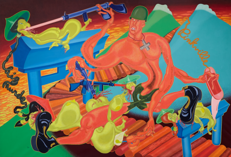 PETER SAUL, PINKVILLE, 1970, ACRYLIC ON CANVAS, 90″ X 131″.