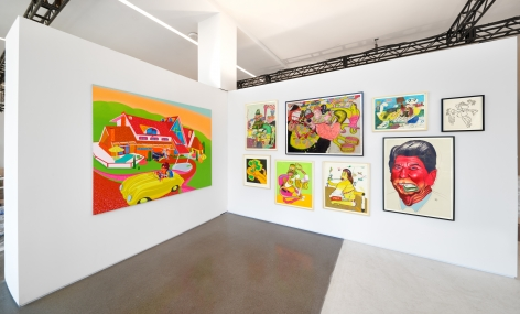 Installation view of Peter Saul: Early and Important Works at Independent, New York, 2016