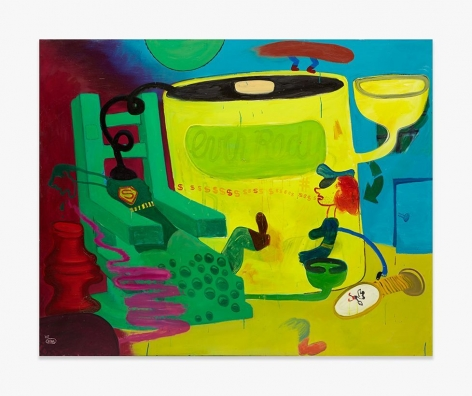 Painting by Peter Saul titled Superman in the Electric Chair