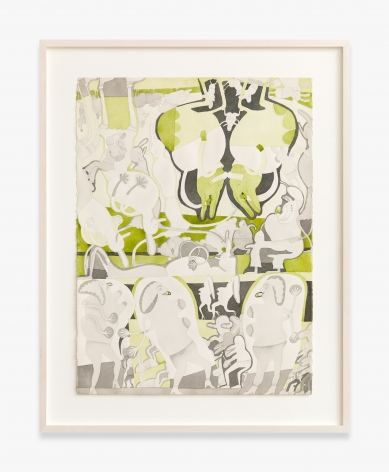 Gladys Nilsson 2 Color Painting: Charkole & Green, 1969