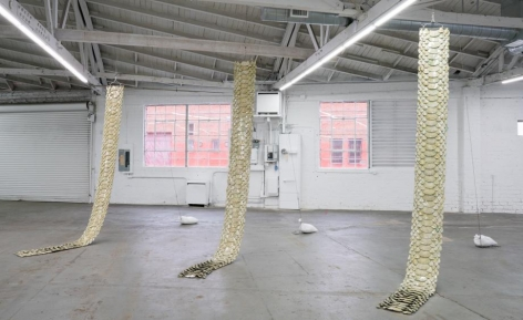 Elaine Cameron-Weir's new animalistic sculptural work takes centre stage at Venus Over Los Angeles. Pictured: an installation view of Cameron-Weir's hanging Snake Piece series