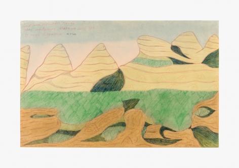 "Drawing by Joseph Yoakum titled ""In Black Mountain Range Near Montgomery Alabama South U.S.A."" from 1970"