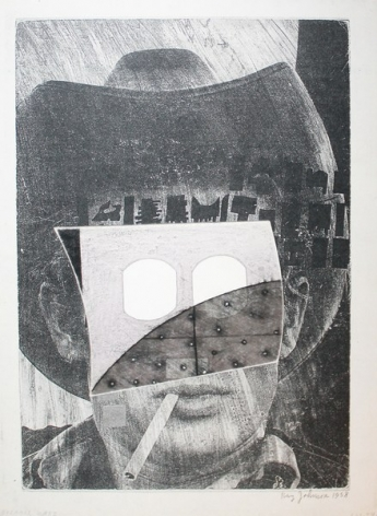 Ray Johnson's Untitled (1958 James Dean with Outlet Mask), 1994. Courtesy of Richard L. Feigen & Co.