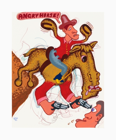 Work on paper by Peter Saul titled Angry Horse from 2020