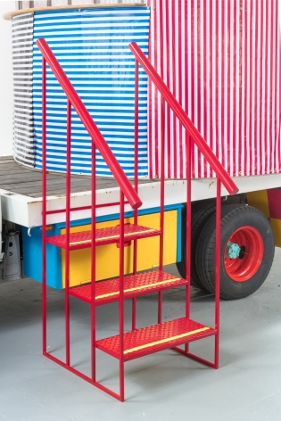 "DETAIL OF PETER SHIRE, ""MR. TRUCK GOES TO COFFEE, OR THIS ONE'S FOR YOU,"" 2016. 1979, TOYOTA 1-TON FLATBED TRUCK, STAINLESS STEEL, VINYL COVERING."