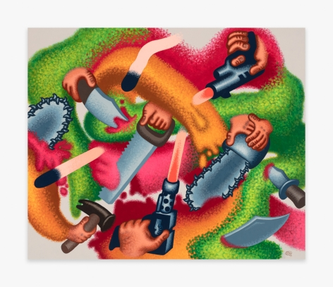 Painting by Peter Saul titled Attack on Abstraction from  2019