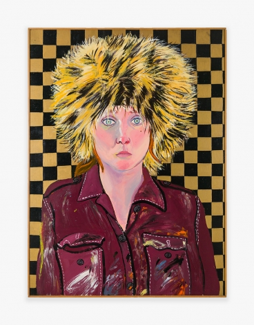 Painting by Joan Brown titled Self-Portrait in Fur Hat, from 1972