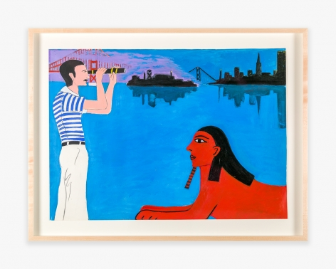 Painting by Joan Brown titled David with Sphinx from 1978