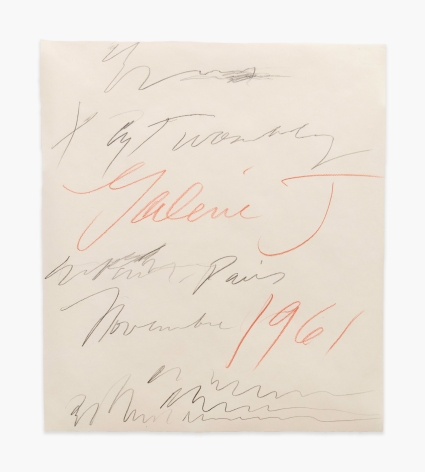 Cy Twombly Original Drawing for a Gallery Poster Exhibition at Galerie J., Paris, 1961