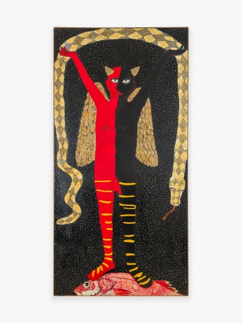 Painting by Joan Brown titled Garden of Eden Series #2: Devil Stepping on Fish from 1970