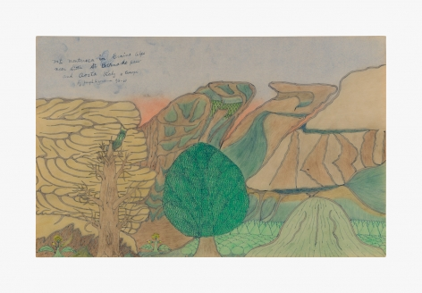 """Drawing by Joseph Yoakum titled """"Mt Monterosa in Graino Alps near Little St. Bernardo Pass and Aosta Italy in Europe"""" from 1967"""