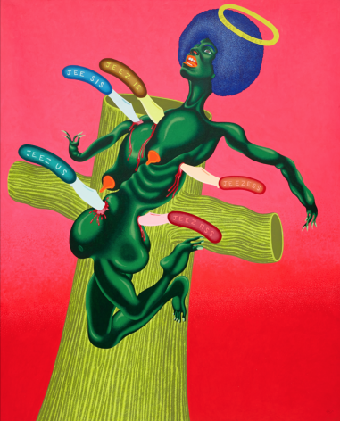 "Peter Saul, ""Crucifixion of Angela Davis"" (1973), acrylic on canvas, 83 1/2 x 67 1/2 inches"