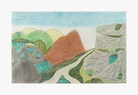 """Drawing by Joseph Yoakum titled """"Mt. Vesuvios of Apennes Alps near Naples Italy"""" from 1970"""