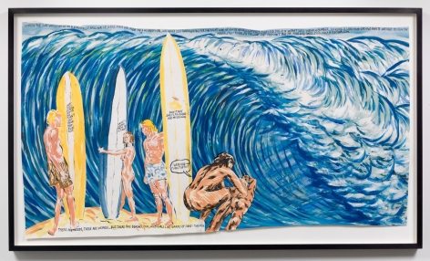 """""""Untitled (When the Surf),"""" 2008 by Raymond Pettibon. Photo by Adam Reich / Courtesy of the artist and Venus Over Manhattan."""