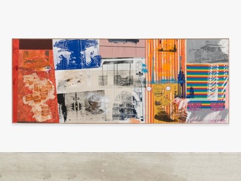 Painting by Robert Rauschenberg titled Primo Calle/ROCI VENEZUELA, from 1985.