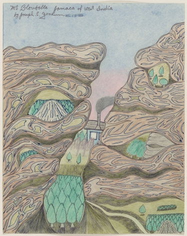 """Drawing by Joseph Yoakum titled """"Mt Cloubelle Jamaca of West India"""" from 1969"""