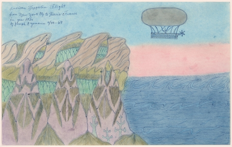 Drawing by Joseph Elmer Yoakum titled American Zeppolin Flight from New York City to Paris France in Year 1939 from 1969