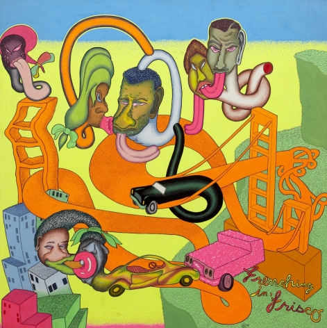 "Peter Saul, ""No Title"" (1969), acrylic paint, colored pencil, crayon, and marker on board, 41 x 41 inches"