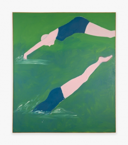 Painting by Joan Brown titled The Swimmers #1 (Diving) from 1973