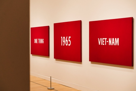 "On Kawara, ""Title,"" 1965, at ""Artists Respond: American Art and the Vietnam War, 1965-1975."" He began a clock-ticking series of paintings consisting entirely of calendar dates."