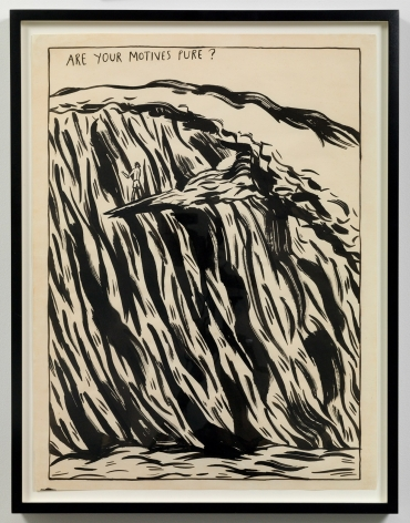 """""""Untitled (Are your motives pure?),"""" 1987 by Raymond Pettibon. Photo by Adam Reich / Courtesy of the artist and Venus Over Manhattan."""