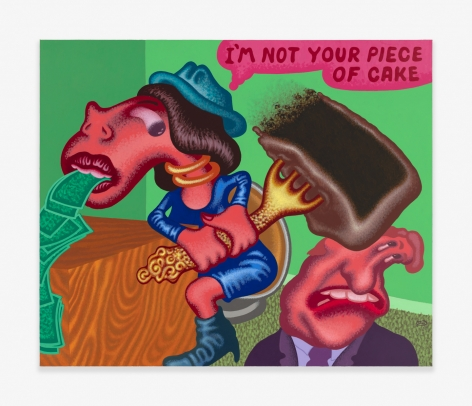 Painting by Peter Saul titled I'm Not Your Piece of Cake from 2020