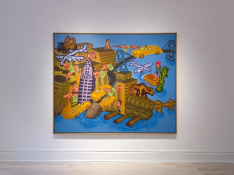 Installation view of Peter Saul New Paintings at Venus Over Manhattan, New York