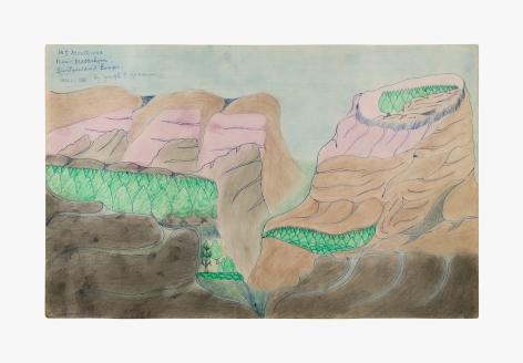 "Drawing by Joseph Yoakum titled ""Mt Monterosa near Matterhorn Switzerland Europe"" from 1966"