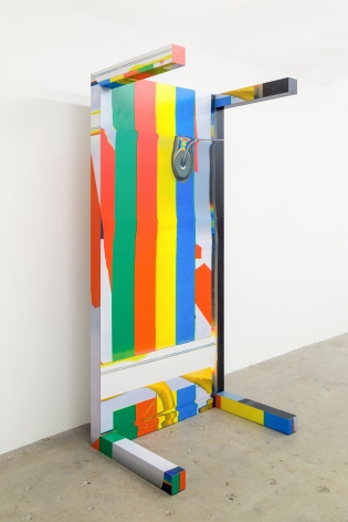 Guyton\Walker (Wade Guyton + Kelley Walker) Canstripe_Greenredblueyellow_Table, 2012