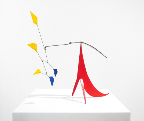 Alexander Calder Three Yellow, Two Blue Polygons and Brass on Red, 1958