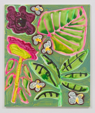 Katherine Bernhardt, Patio Plants (2016). Acrylic and spray paint on canvas, 60 x 48 inches. Image courtesy of the artist and VENUS. Photo: Robert Wedemeyer.