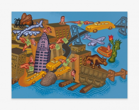 Painting by Peter Saul titled New York Number 1 from 2021