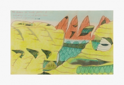 """Drawing by Joseph Yoakum titled """"Mt Golleia on North Portion of Antarctica in so west pacific Ocean"""" from 1970"""