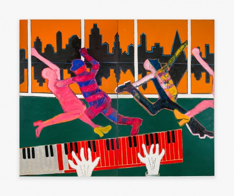 Painting by Joan Brown titled Dancers in a City #4, from 1973