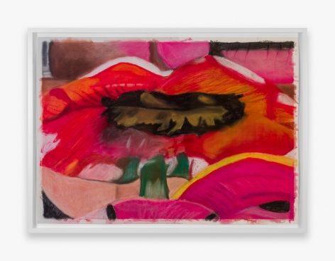 Work on paper by Gina Beavers, titled Painting Georgia O'Keefe on my lips, from 2021