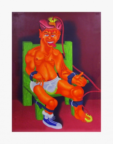 Peter Saul, Charles Starkweather, 1976. Acrylic and ballpoint pen on board; 37 x 28 1/8 in (94 x 71.4 cm)