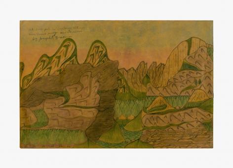 "Drawing by Joseph Yoakum titled ""Mt. Cross Pate in Long Range, Mt. Range near Damals Harber New Foundland"" no date"